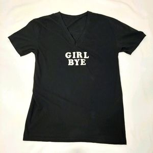 GIRL BYE V-NECK TEE WITH ANGEL WINGS SZ XL.